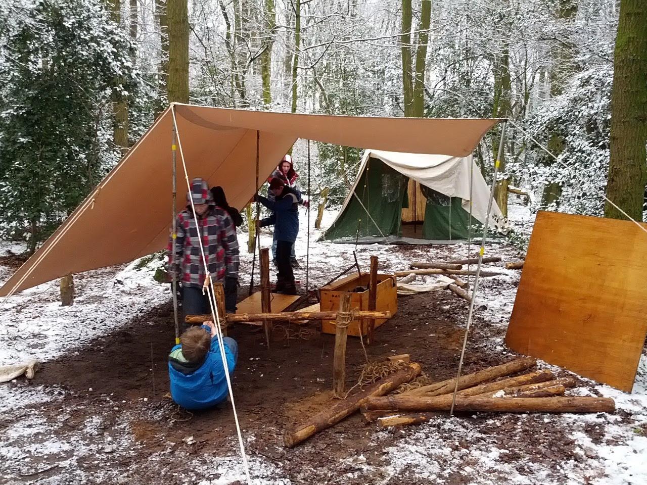 Kamperen in de winter  kampkeuken Radboudgroep Santpoort